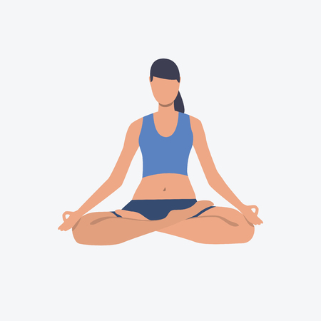 Meditating fit woman, Activity, asana, lotus position. Can be used for topics like sport, meditation, spirituality
