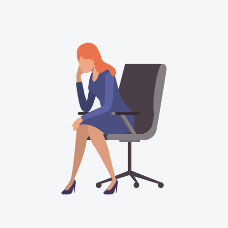 Stressed female entrepreneur sitting on armchair. Fatigue, stress, workaholic. Can be used for topics like career, occupation, deadline