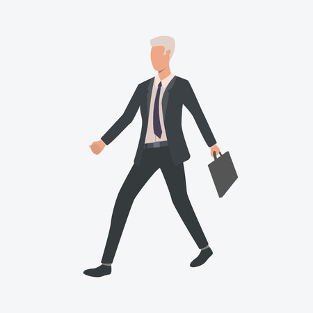 Businessman walking with briefcase. Entrepreneur, manager, hurrying man. Can be used for topics like business, career, occupation