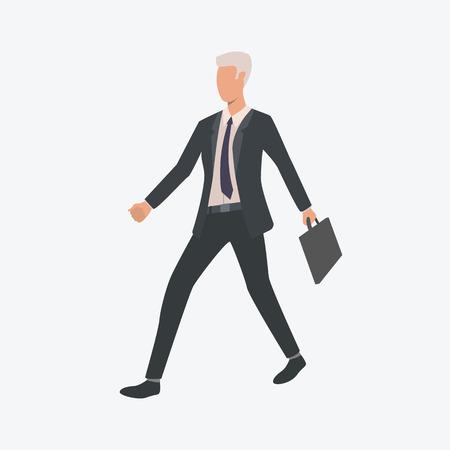 Uomo d'affari che cammina con la valigetta. Imprenditore, manager, uomo di fretta. Può essere utilizzato per argomenti come affari, carriera, occupazione