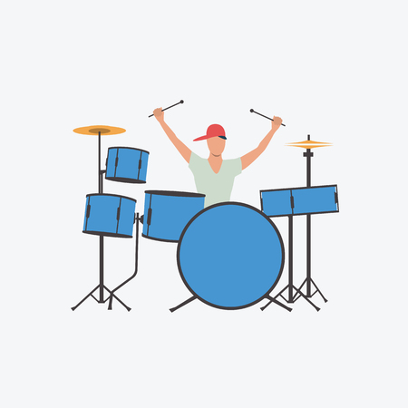 Excited guy playing drums. Hipster, teenager, music. Can be used for topics like rock star, performance, concert