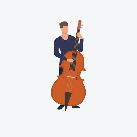 Homme jouant de la contrebasse. Concert, musique classique, son. Peut être utilisé pour des sujets tels que le divertissement, l'orchestre, le musicien