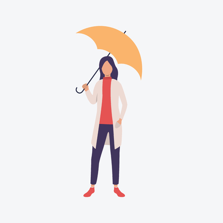 Young woman with umbrella. Season, spring, outdoor. Can be used for topics like rainy weather, stroll, walk