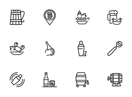 Pubs line icon set. Set of line icons on white background. Cocktail, beer mug, fresh crab. Food concept. Vector illustration can be used for topics like eating, drinking, resting Illustration