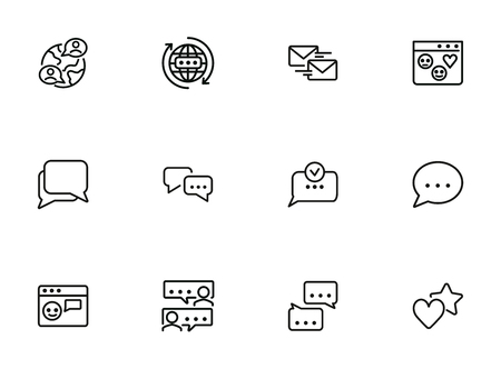 Social media communications line icon set. Set of line icons on white background. Chatting, message, typing. Internet concept. Vector illustration can be used for topics like web, communication Vectores