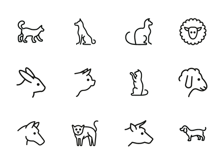 Tame animals line icon set. Set of line icons on white background. Beef, horse, cat. Household concept. Vector illustration can be used for topics like household, nature, farm