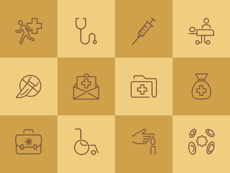 Medicine line icons. Set of line icons on white background. Healthcare concept. Ambulance, syringe, danger. Can be used for topics like pharmacy, medicine, hospital Ilustração