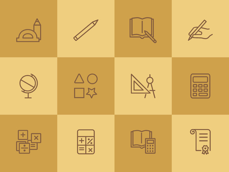 School supplies line icon set. Ruler, calculator, globe, copybook. Education concept. Can be used for topics like studying, learning, geometry, drawing Illustration