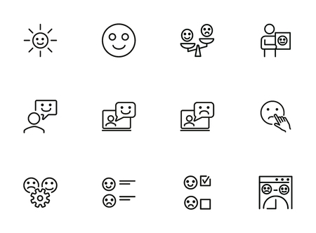 Customer feedback line icon set. Smiley, like, dislike. Ecommerce concept. Can be used for topics like retail, store, approval Illustration