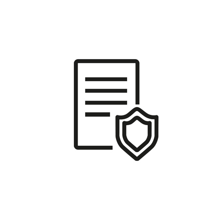 Legal protection line icon. Document, shield, law. Legal services concept. Vector illustration can be used for topics like law force, government, regulation Illustration