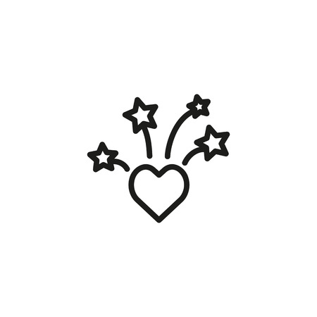Love of fireworks line icon. Heart, firework, light. Fireworks concept. Vector illustration can be used for topics like festive, Christmas, festival