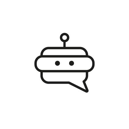 Icona della linea del bot di Messenger. Testa del robot, dispositivo, cellulare. Chat concetto di bot. L'illustrazione vettoriale può essere utilizzata per argomenti come tecnologia, dispositivi mobili, internet