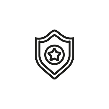 Police badge line icon. Star, sheriff, sign. Legal services concept. Vector illustration can be used for topics like law force, government, regulation