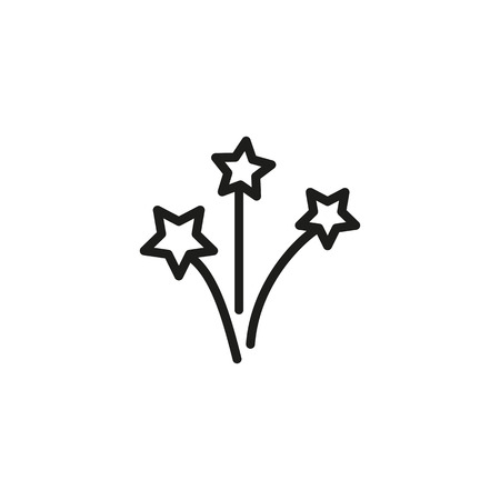 Three fireworks line icon. Sparkle, firework, light. Fireworks concept. Vector illustration can be used for topics like festive, Christmas, festival  イラスト・ベクター素材