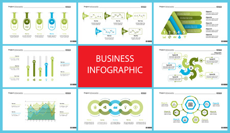 Creative business infographic design for startup concept. Can be used for business project, annual report, web design. Option chart, process chart, organizational chart, donut diagram, flowchart Vettoriali