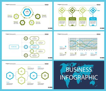 Business Inforgraphic Design Set für Projektmanagement-Konzept. Kann für Geschäftsprojekte, Geschäftsberichte und Webdesign verwendet werden. Workflow-Layout. Option, Prozess, Flächendiagramm, Donut, Pfeildiagramme Vektorgrafik