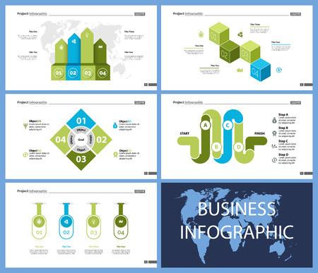 Conjunto de gráficos infográficos de concepto de planificación o estrategia. Diagramas de negocios para plantillas de diapositivas de presentación. Para el diseño de informes corporativos, publicidad, banners y folletos.