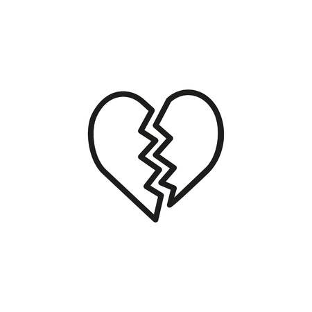 Broken heart line icon. Split, dating, separation. Romantic feeling concept. Can be used for topics like cheating, divorce, marriage