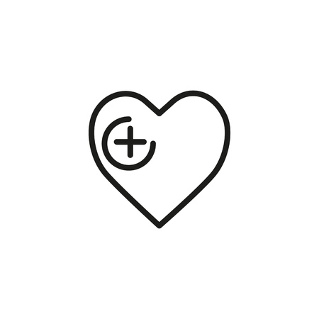 Heart with plus sign line icon. Hope, transplantation, surgery. Cardiology concept. Can be used for topics like medicine, love, insurance