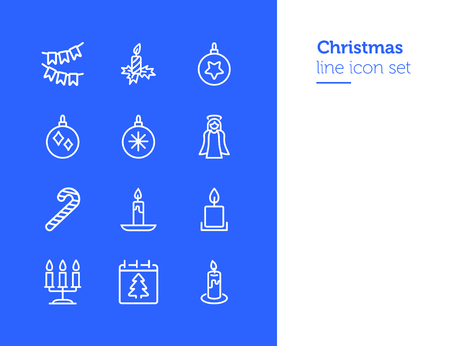 Christmas line icon set. Set of line icons on white background. Festive concept. Angel, candle, calendar. Vector illustration can be used for topics like Christmas, new year, decoration  イラスト・ベクター素材