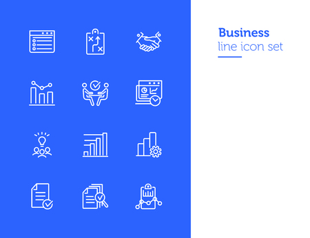 Business line icon set. Strategy, handshake, brainstorming, meeting. Business concept. Can be used for topics like analysis, marketing, management, deal Illusztráció