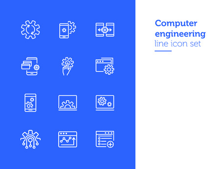 Computer engineering line icon set. Set of line icons. Technology concept. Computer, machine, progress. Vector illustration can be used for topics like technics, programming, computer Vectores
