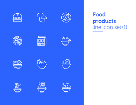 Food products line icon set. Set of line icons on white background. Food concept. Chicken, pizza, mushroom. Vector illustration can be used for topics like supermarket, cooking