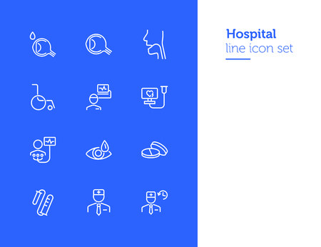 Hospital line icon set. Set of line icons on white background. Healthcare concept. Doctor, investigation, illness. Vector illustration can be used for topics like medicine, health, treatment Illustration