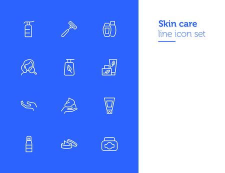 Skin care products line icon set. Cream, shaving stick, face and magnifier glass. Beauty concept. Can be used for topics like beautician, cosmetics, natural ingredients Illustration