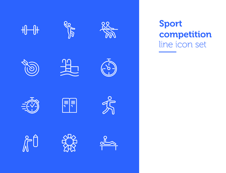 Sport competition icons. Set of line icons. Gym lockers, barbell, swimming pool. Sports activity concept. Vector illustration can be used for topic like professional sport, physical activity, training Illusztráció