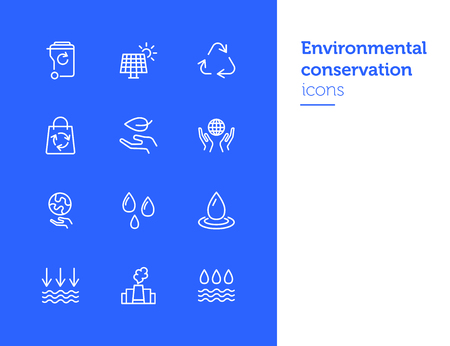 Environmental conservation icons. Recycling, air pollution, solar battery. Ecology concept. Vector illustration can be used for topics like environment, energy saving, nature resources