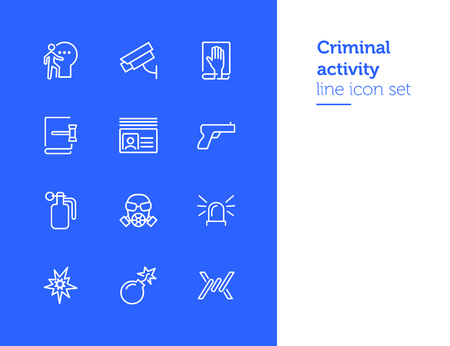 Criminal activity line icon set. Set of line icons on white background. Law concept. Handgun, camera, identification. Vector illustration can be used for topics like justice, law, civil regulation Illustration