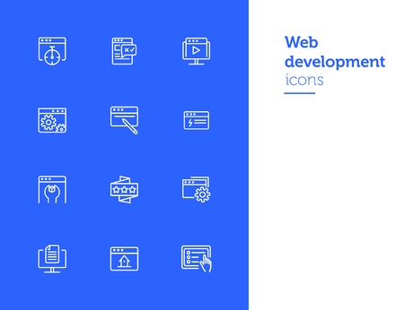 Web development icons. Set of line icons on white background. Homepage, setting folder, webinar. Computer using concept. Vector illustration can be used for topic like internet, technology, web design Illustration