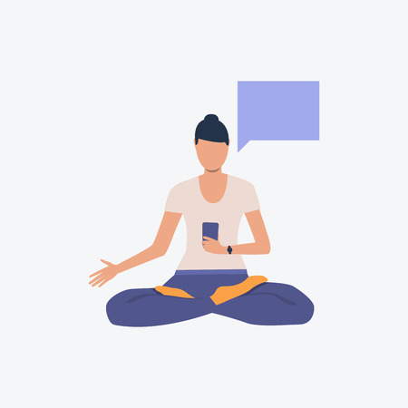 Woman in lotus position holding smartphone. Girl, sport, good shape. Can be used for topics like fitness, active lifestyle, health Stock Vector - 126169163