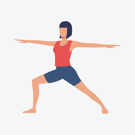 Woman in yoga position. Girl, sport, good shape. Can be used for topics like fitness, active lifestyle, health Illustration
