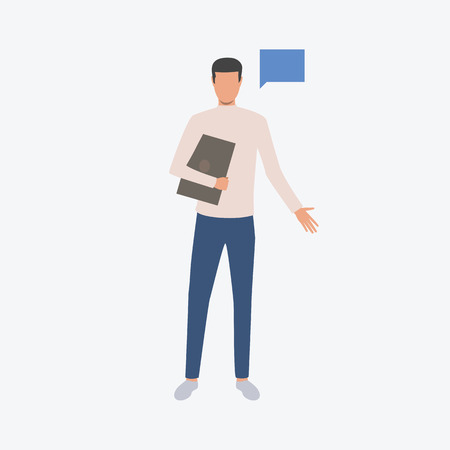 Man with notebook and chat icon. Computer, holding, chat, man, modern life. Can be used for topics like  businessman, working, communication