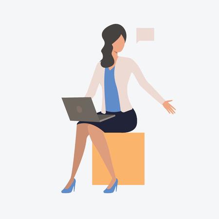 Mujer que trabaja en el cuaderno. Computadora, sentado, mujer, vida moderna. Se puede utilizar para temas como empresario, trabajo, trabajo.