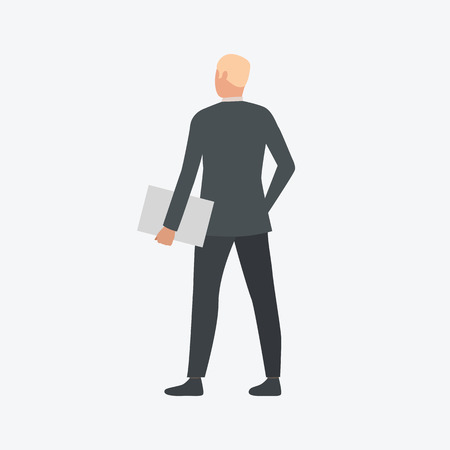 Manager in black costume. Young man, office, meeting. Can be used for topics like  business, working, communication Иллюстрация
