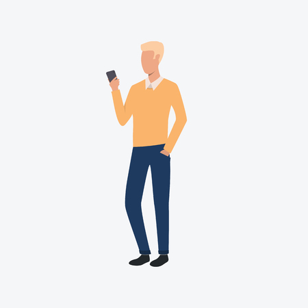 Young man in casual clothes. Telephone, chat, man, modern life. Can be used for topics like  businessman, working, communication Иллюстрация