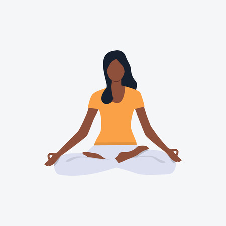 Afro-American girl in lotus position. Girl, sport, good shape. Can be used for topics like fitness, active lifestyle, health