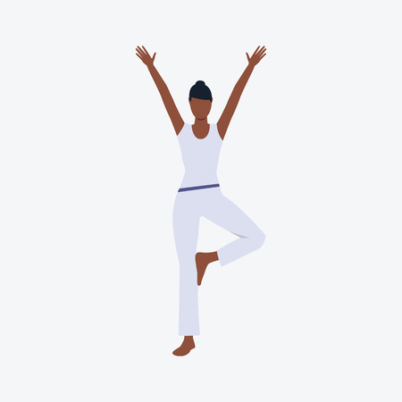 Afro-American girl in yoga position. Girl, sport, good shape. Can be used for topics like fitness, active lifestyle, health
