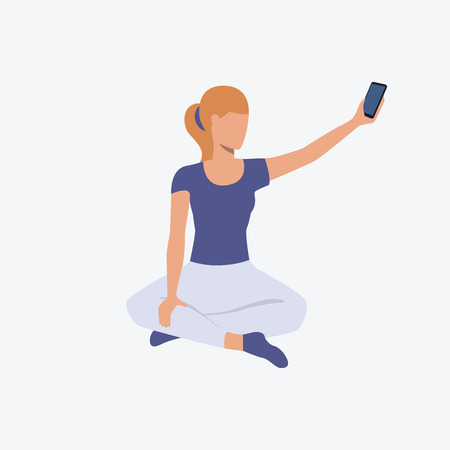 Girl catching mobile signal in lotus position. Girl, sport, good shape. Can be used for topics like fitness, active lifestyle, health