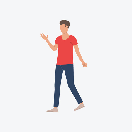Dancing young man. Red t-shirt, fun, party. Can be used for topics like Saint Valentines Day, festival, celebration