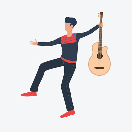 Man with guitar. Guy, costume, musician. Can be used for topics like celebration, greeting, seasonal