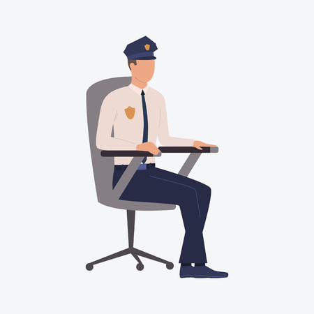 Policemen sitting in chair. Detective, professional, social service. Can be used for topics like government, federal law, legal service