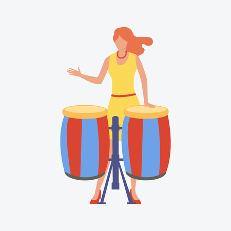 Girl playing on drummers. Young woman, music, festival. Can be used for topics like celebration, music band, song contest
