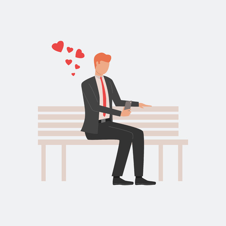 Man sitting on bench. Telephone, chatting, communication, flirting. Can be used for topics like Saint Valentines Day, festival, celebration
