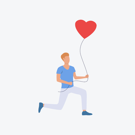 Man standing on knee with heart air balloon. Romantic, boyfriend, greeting. Can be used for topics like Saint Valentines Day, festival, celebration  イラスト・ベクター素材