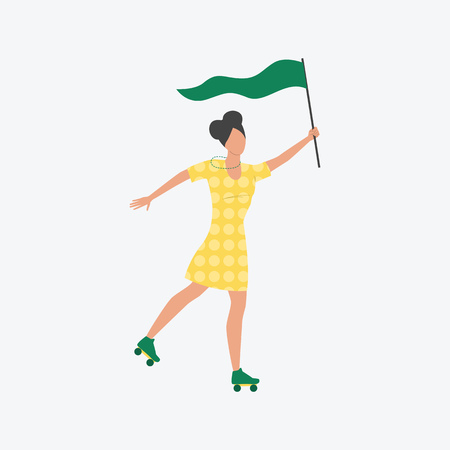 Woman on rollers holding green flag. Young woman, festival, demonstration. Can be used for topics like sport, fitness, festival