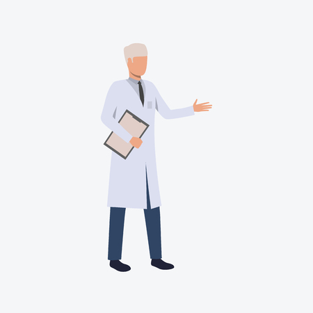 Adult man in doctor uniform. Professional, medicine, clothing. Can be used for topics like professional, working, job, hospital Vector Illustration